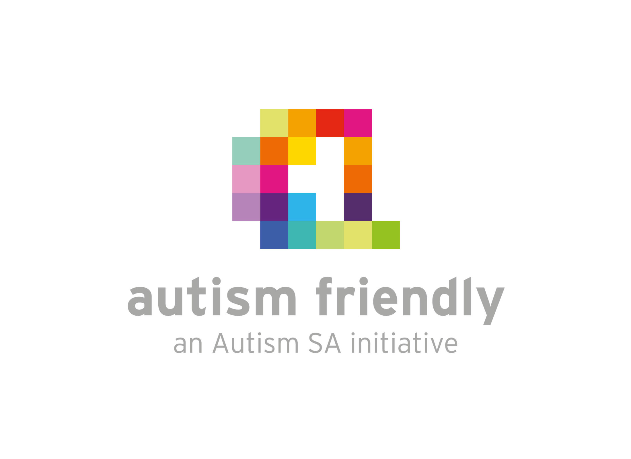 Coloured blocks on top of the words autism friendly an autism sa initiative
