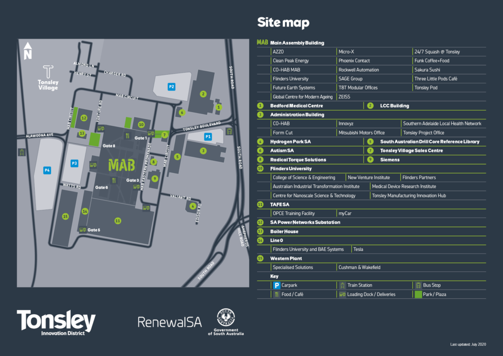 A map of the Tonsley Innovation District